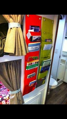 Velcro straps on top to wrap around the back bunk bar. Perfect bookshelf for the kids bunk in the pop up.   Maybe one per kid?