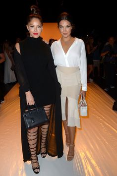 Olivia Pierson and Natalie Halcro attend the Jonathan Simkhai fashion show during New York Fashion Week: The Shows at The Arc, Skylight at Moynihan Station on September 10, 2016 in New York City.