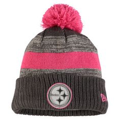 Men's Pittsburgh Steelers New Era Heather Gray 2016 Breast Cancer Awareness Sideline Cuffed Pom Knit Hat