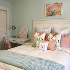 "Christie Lewis Interiors on Instagram: ""Sneak peak at what I was up to today... Another birthday surprise bedroom makeover. It was sister number 2's turn this time! We have a couple more things to do before a full reveal but I am overjoyed with how it's coming together. And her reaction was priceless! Paint color is Embellished Blue (at 50%) by Sherwin Williams."""