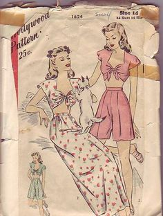 1945 Hollywood 1624 pattern bust 32 by thevioletpansy on Etsy, $45.00