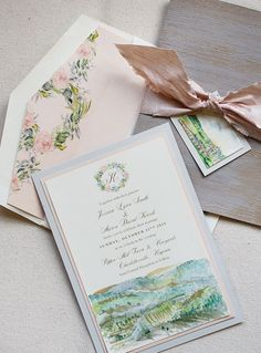 Hand-painted invitation by Momental Designs.