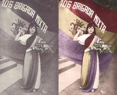 Coloreado de fotografía histórica. Madrina de la 106 Brigada Mixta, c. 1937.