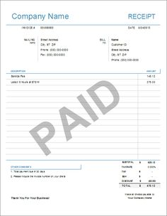 A Printable Invoice For A Business It Has Room For Detailed