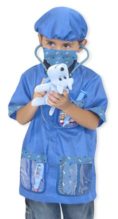 """Kid's Veterinarian Costume Set: The care of all the toy """"pets"""" in the house will be in capable hands when your little animal doctor is suited up in a machine-washable blue jacket, mask and surgical cap. The set includes a stethoscope with sound effects, syringe, thermometer, mask, cap, bandage, reusable veterinarian name tag and a little plush puppy patient to """"doctor"""" and love."""
