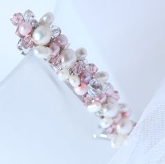 pink hair barrette. French barrette, Hair barrette hair clip, Swarovski crystals and pearls. One of a kind on Wanelo