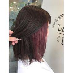 Color Medium Inner Color ¥ 4500 Bleach and then release. Under Hair Color, Hidden Hair Color, Pink Hair Streaks, Hair Color Purple, Undercolor Hair, Underdye Hair, Hair Color Underneath, Peekaboo Hair, Aesthetic Hair