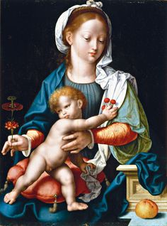 Joos van Cleve's Madonna and Child (1530-1535) variation. r wht and bl and var primaries in almost 2/3s spectrum here with value changes and unequal proportions