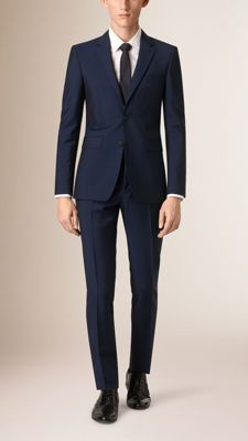 Burberry slim fit suit with a short, closely fitted jacket and narrow tapered trousers in a rich blend of wool and mohair. Inspired by traditional tailoring, the suit is finished with sartorial pick-stitch detailing.   Discover men's tailoring at Burberry.com