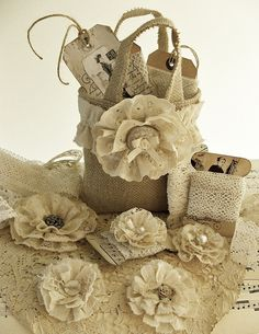 Burlap bag with material flowers!  Love this!