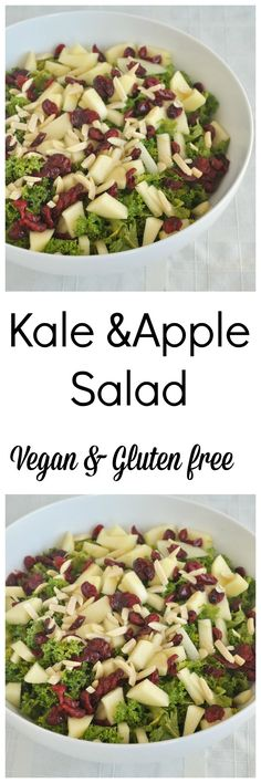 Melt in your mouth kale apple salad with an oil free lemon vinaigrette! Vegan, gluten free and paleo approved.