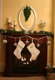 Christmas Fireplace mantel. Love it. Simple to do.