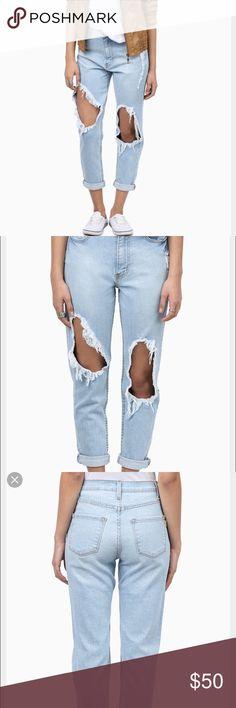 Wonderwall Boyfriend Jeans Wonderwall Boyfriend Jeans with ripped knees in a light wash. Size L, great condition! Tobi Jeans Boyfriend