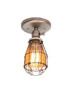 Minimalist Brushed Silver Cage Fixture light  by junkyardlighting, $85.00