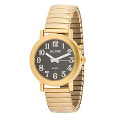 tel time mens low vision talking watch white face watches and faces tel time mens gold tone expansion one button talking watch black face this easy