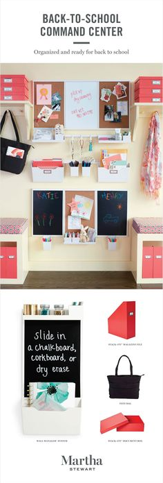 The Martha Stewart Wall Manager System from Staples can be used in small and large spaces and is fully customizable. Keep track of the kids' school work and activities by creating a system near your home's entry way. You can store everything in one place and easily grab it as you're rushing out the door.