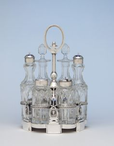 Peter Krider Antique Coin Silver Medallion Cruet Set, Philadelphia, PA, c. 1865. Spencer Marks, Ltd.