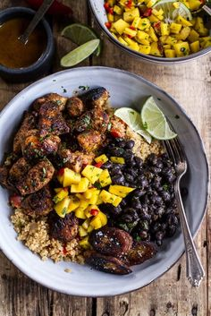 Everything from the garlic, citrus, and soy marinade for the chicken to the mango salsa and fried chili-spi...