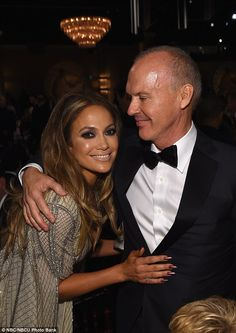 She's your biggest fan! Jennifer Lopez congratulates Michael Keaton after his win for Bird. Golden Globe Award, Golden Globes, Jennifer Lopez, Ben Affleck, Your Biggest Fan, In And Out Movie, Michael Keaton, Couture Embroidery, Red Carpet Fashion
