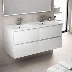 avec ses 121 cm de largeur ce meuble de salle de bains suspendu accueil un - Largeur Salle De Bain
