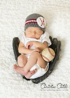 Crochet Beanie with baseball by MamaElfi on Etsy, $18.00