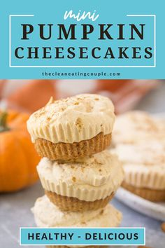 Healthy Pumpkin Cheesecakes are the perfect gluten free, low fat cheesecake treat! Made with greek yogurt, low in sugar and so delicious! This healthy cheesecake recipe is a must make for fall. So yummy and easy!