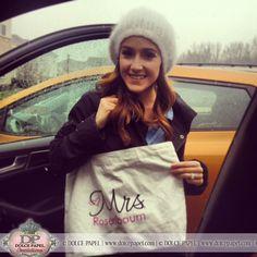 Season 7 Bachelorette Ashley Hebert Rosenbaum holding her custom designed New Mrs. Tote Bag from Dolce Papel Invitations! www.dolcepapel.com