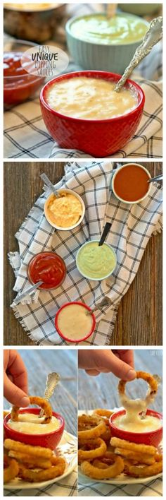 5 Unique Dipping Sauces (Cilantro Lime Cream Sauce, Honey Mango BBQ Sauce, White Cheddar Beer Cheese Sauce, Cheesy Horseradish Dip, and Vanilla Bean Ketchup) Chutney, Dip Recipes, Sauce Recipes, Cooking Recipes, Tapas, Pesto, Beer Cheese Sauce, Queso Cheese, Horseradish Dip