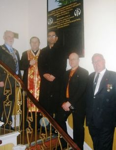 Left to right:  Cllr Eric Firth, Rev. Mychailo Onatsko, Cllr Mehboob Khan, Ivan Cholach (AUGB Branch Chair), Mykola Lajszczuk