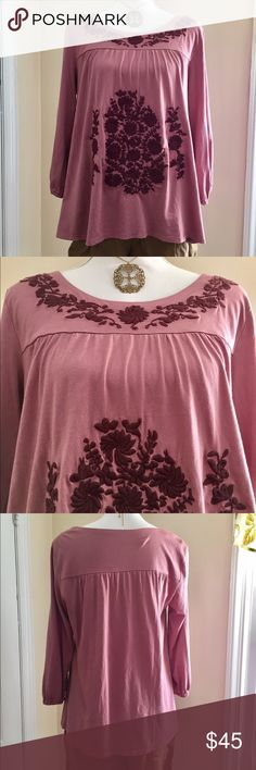 Garnet Hill Embroidered Blouse 🍃🌸 Gorgeous colors and detailed embroidery. Looks beautiful on. Great with jeans or leggings. 🌈💙🌈💙 Garnet Hill Tops Blouses