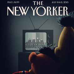 """Beto y Enrique """"se dan el sí"""" tras resolución de matrimonio #gay en EU en la portada de la próxima edición del semanario """"The New Yorker. Esta edición 'saca del closet' a los iconos infantiles de Plaza Sésamo, pero también de la comunidad homosexual. Foto: New Yorker"""