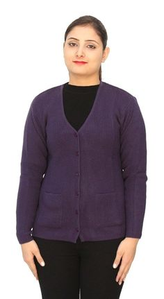 Romano Basic Purple 100% Wool Warm Winter Sweater Cardigan For Women *** Startling big discounts available here : Women's Fashion for FREE
