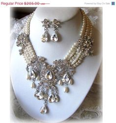 Bridal statement necklace earrings vintage by BijouxandCouture, $164.00