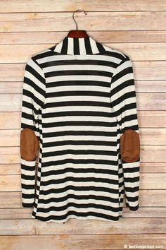 PLUS SIZE Striped Cardigan with Suede Elbow Patch-Black & Beige