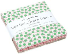 """Red Dot Green Dash Brushed Christmas Cotton Fabric, Charm Pack, 42~5"""" squares,Moda Fast Shipping, CP488"""