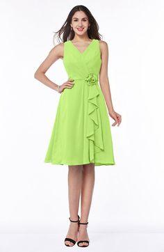 Bright Green Sexy V-neck Sleeveless Chiffon Knee Length Plus Size Bridesmaid Dresses