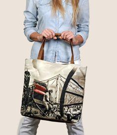 handbag, purse, clutch, crafted, Indian, Tote, Fashion Accessory, handmade, handpurse, vintage inspired, vintage tote, howrah bridge, Vegan Leather, Cotton Twill, Digital print