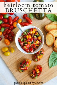 Heirloom tomato bruschetta is a simple and delicious way to enjoy ripe, summer tomatoes. Mixed with fresh basil, garlic and olive oil, this classic recipe has only a handful of ingredients and is perfect in its simplicity.   #bruschetta #tomatobruschetta #heirloomtomatoes #crostini #bruschettarecipe Quick And Easy Appetizers, Healthy Appetizers, Appetizer Recipes, Dinner Recipes, Dinner Ideas, Snack Recipes, Cooking Recipes, Tomato Bruschetta, Bruschetta Recipe