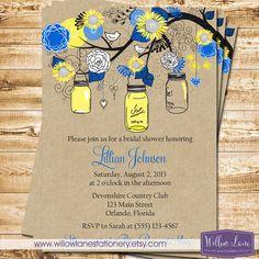 Bridal Shower Invitation - Sunflower Mason Jar Bridal Shower Invite - Yellow Royal Blue Mason Jar Sunflower Wedding Shower -1253 PRINTABLE by WillowLaneStationery on Etsy https://www.etsy.com/listing/192322081/bridal-shower-invitation-sunflower-mason