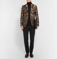 This impressive <a href='http://www.mrporter.com/mens/Designers/Gucci'>Gucci</a> tuxedo jacket is cut from rich black and gold jacquard cloth. It's woven with a generous lashing of silk for lustre, and cut in a streamlined slim fit for a polished appearance. The Eastern-inspired design is bound to be a captivating talking point at your next formal affair. Cap yours off with a velvet bow tie and glossy leather shoes.