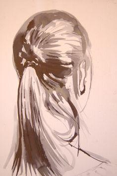 "Saatchi Online Artist: Ana Vukadinovic; Pen and Ink, Drawing ""Nataša"""