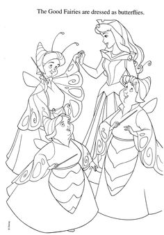 """Coloring page of the """"Sleeping Beauty"""" fairies in their Halloween costumes."""