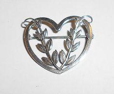VINTAGE Georg Jensen STERLING SILVER HEART Pin  # 242 B - http://designerjewelrygalleria.com/georg-jensen/vintage-georg-jensen-sterling-silver-heart-pin-242-b-2/