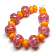 Lampwork glass 'Tropical Petals' beads by Laura Sparling