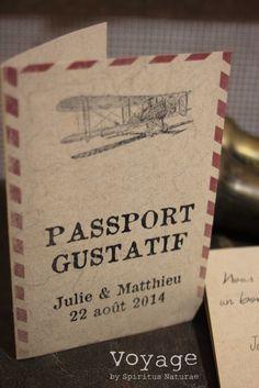 Image of MENU , PASSPORT GUSTATIF ,. Laure Thiébault · Menu mariage thème  voyage