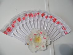Pink and White Rose Plastic Fork Fan Wall Decor #Handmade #Contemporary
