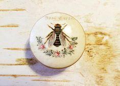 Vintage Bee Knobs Drawer Pulls Birch Wood Floral Cabinet