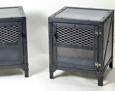 Industrial nightstand.  End table.  Beam end table. Steel and