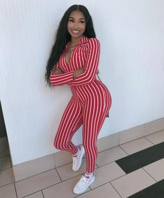 Best 12 Image may contain: 1 person, standing and stripes Cute Swag Outfits, Dope Outfits, Girl Outfits, Fashion Outfits, Fashion Trends, Chic Outfits, Fashion Ideas, Black Girl Fashion, Fashion Looks
