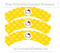 Free Gold Heart Pattern Hello Kitty Scalloped Cupcake Wrappers